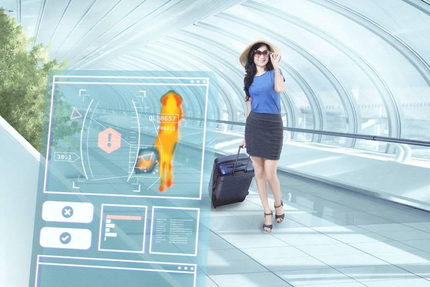 So sehen Experten den zukünftigen Sicherheitscheck am Flughafen: Innerhalb von Sekunden werden Fluggast und Gepäck mit Molekularscannern durchleuchtet