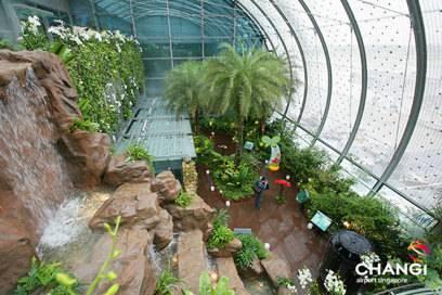 An einigen Flughäfen wie etwa dem Changi Airport in Singapur gibt es schon heute künstlich angelegte Wasserfälle und Bäume