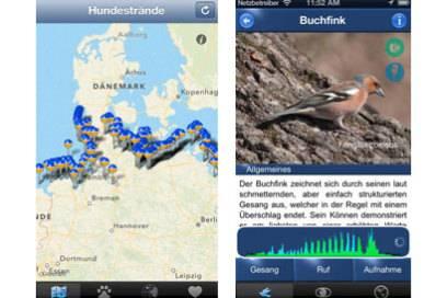 """Die App """"Hundestrände"""" zeigt Ihnen Strände, an die Sie Ihren Hund mitnehmen dürfen. Mit """"VogelstimmenID"""" erkennt, welcher Vogel grade trällert"""