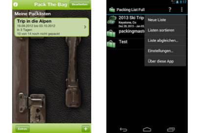 """Die App """"Pack the bag"""" hilft, die richtigen Sachen für jedes Reiseziel einzupacken"""