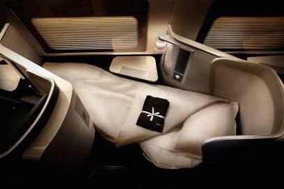 Erst ein Sitz, dann ein Bett: Blick in den First-Class-Bereich von British Airways