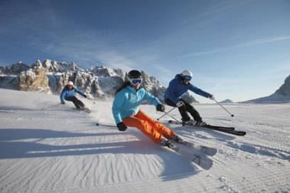 Eine beliebte Piste unter Skifahrern: Die Sella Ronda in den Südtiroler Dolomiten