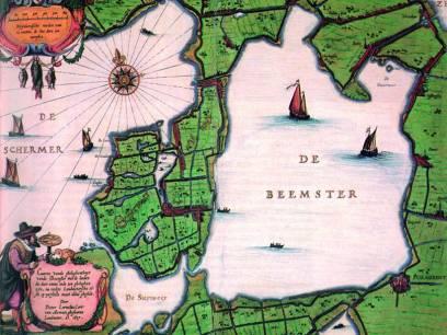 Eine historische Karte zeigt, wo statt dem heutigen Land einmal Wasser war