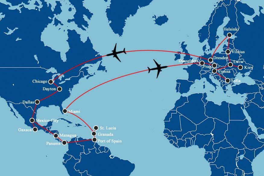 Die Route: Von den USA fliegt Scott Heyes zuerst nach Mittel- und Südamerika, dann über die Karibik und Miami nach Europa.