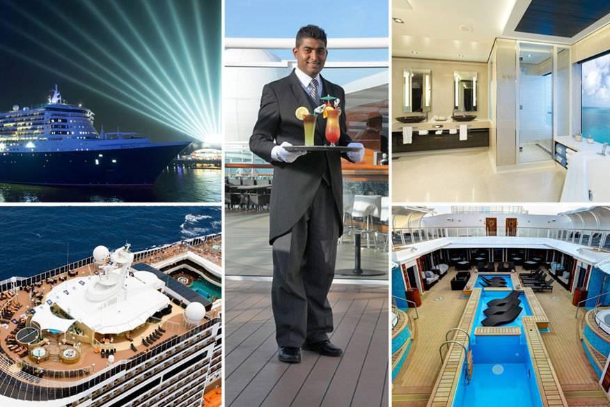 Auf großen Kreuzfahrtschiffen gibt es immer häufiger abgeschlossene Luxus-Bereiche. Im Foto: die Queen Mary 2, die MSC Splendida und The Haven by Norwegian
