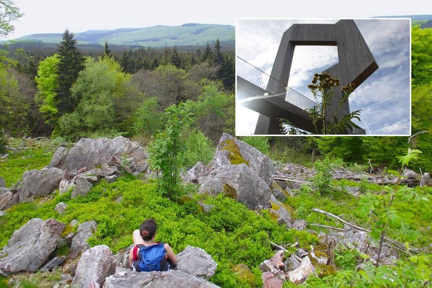 tolle Ausblicke im Nationalpark Hunsrück Die Windklangskulptur auf dem Erbeskopf