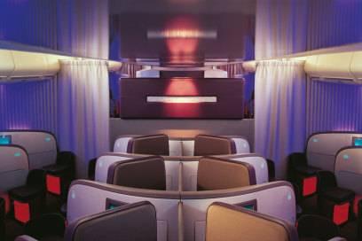 Stylisches Ambiente in der Upper Class von Virgin Atlantic
