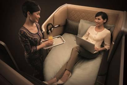 Gemütlich-edles Ambiente in der First Class von Singapore Airlines