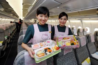 """EVA Air ist unter anderem für ihre Spezial-Flugzeuge im """"Hello Kitty""""-Design bekannt und darum, natürlich, besonders bei kleinen Mädchen beliebt"""