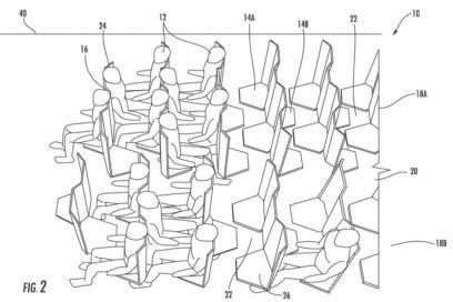 Der Mittelsmann muss rückwärts fliegen – so das Konzept dieses neuen Patents für Flugzeugsitzreihen