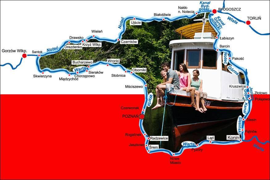 Der Großpolnische Ring wird von den Flüssen Warta (Warthe), Noteć; (Netze), Brda (Brahe) und dem Kanal Bydgoski (Bromberger Kanal) gebildet