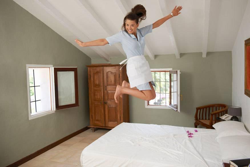 In manchen Hotels machen die Zimmermädchen offenbar alles mögliche auf dem Zimmer, nur nicht sauber
