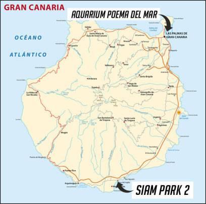 Die Lage der beiden geplanten Attraktionen auf Gran Canaria