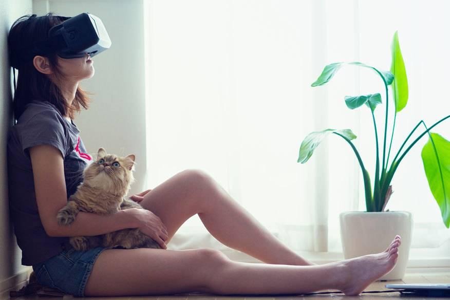So kommt auch die Katze mit in den Kurz-Urlaub: Einfach Virtual-Reality-Brille aufsetzen und schon sitzt man zwischen Palmen statt Zimmerpflanzen.
