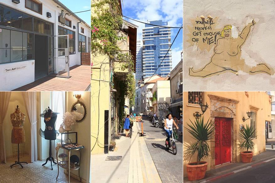 Galerien, Graffitis, gemütliche Gassen – und im Hintergrund immer die Wolkenkratzer. Willkommen in Neve Tzedek!