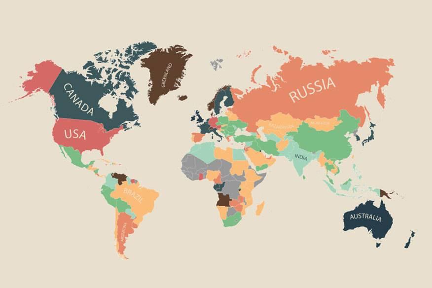 Die Weltkarte der Verbraucherpreise: Türkis und Grün stehen für vergleichsweise niedrige Kosten, Hellorange, Orange und Rot für mittlere Werte. Die dunklen Farben bedeuten relativ hohe Kosten. Braun markiert die Gebiete, die am teuersten sind