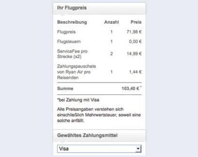 Zum ursprünglich angezeigten Flugpreis von 71,98 Euro kommen nochmal 29,98 Euro ServiceFee dazu, sobald man zum Beispiel Visa als Zahlungsmittel auswählt