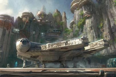 Das legendäre Raumschiff Millennium Falcon wird natürlich ebenfalls in den Parks zu sehen sein – und soll von Besuchern gesteuert werden können