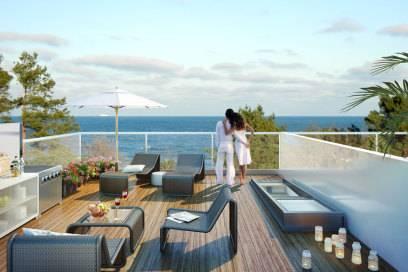 Entwurf für eine Dachterasse der neuen Wohnungen in Prora