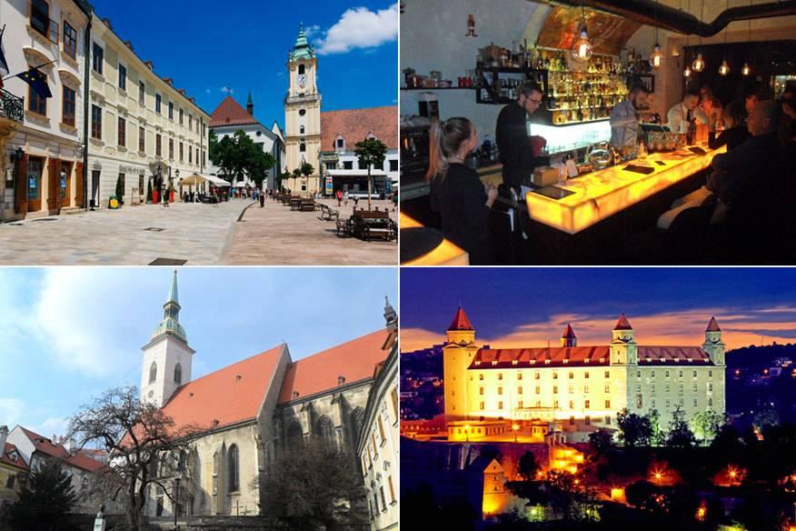 """Bratislava ist eine absolute Traumstadt für einen Kurztrip. Hier zu sehen (von links oben nach rechts unten): der Hauptplatz (Hlavné námestie), die Bar """"The Cuba Libre"""", die St.Martins-Kathedrale und die Burg Bratislava (Bratislavský hrad)"""