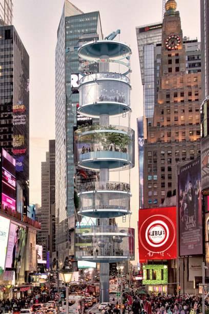 Über sechs Ebenen erstreckt sich der Turm, der von allen Seiten einsehbar sein soll