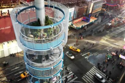 Herzstück des Turms ist eine begrünte Ebene, der sogenannte Sky Garden