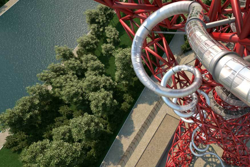 """Weder Höhenangst, noch Klaustrophobie sollten die Besucher von """"The Slide"""" in London haben. Die Rutsche eröffnet am 24. Juni dieses Jahres."""