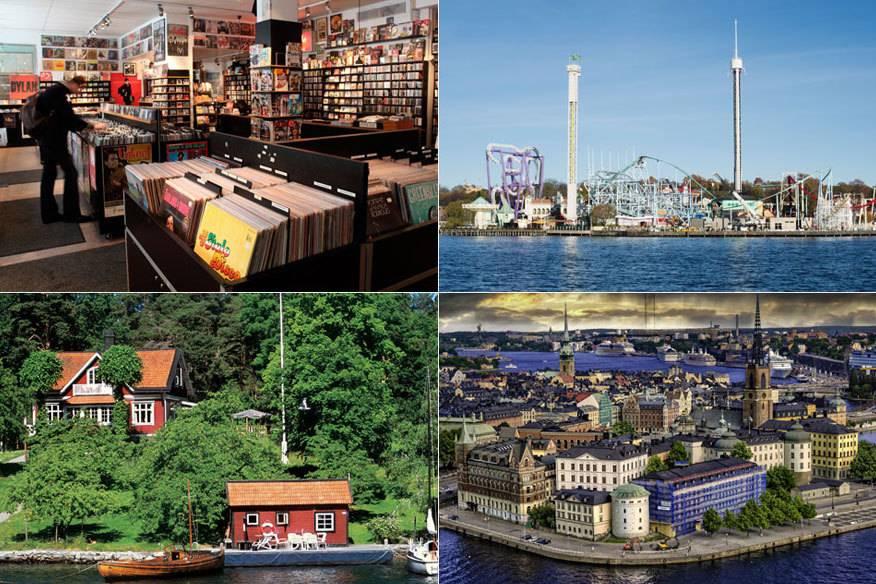Für Hipster, Jetsetter, Natur- oder Seefahrt-Fans: Fast jeder Typ findet in Stockholm ein passendes Angebot. Im Uhrzeigersinn: der berühmte Plattenladen Pet Sounds im Viertel Södermalm, der Freizeitpark Gröna Lund, die Schären und die Altstadt, Gamla Stan.