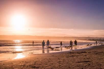 Strandläufer lieben den Coronado Beach in Kalifornien