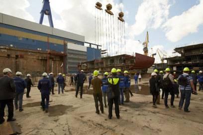 Die Kiellegung ist einer der Meilensteine beim Bau eines Kreuzfahrtschiffs