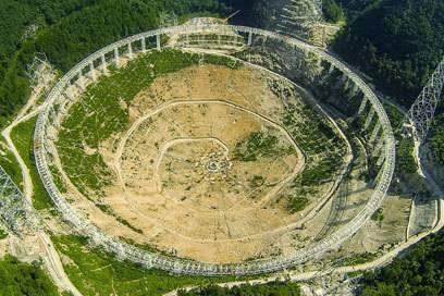 Gigantische Ausmaße: das neue FAST-Teleskop hat einen Durchmesser von 500 Metern – das entspricht einer Fläche von 30 Fußballfeldern.
