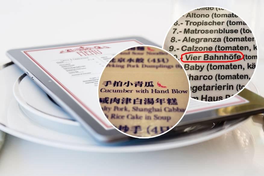 Was man auf weltweiten Speisekarten zuweilen an Übersetzungen findet, ist ziemlich lustig