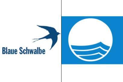 : Die Blaue Schwalbe ist ein Öko-Label für umwelt- und sozialverträgliche Unterkünfte in Deutschland. : Die Blaue Flagge war eines der ersten Öko-Labels inEuropa. Es entstand 1987 und bewertet die Küstenzonen.