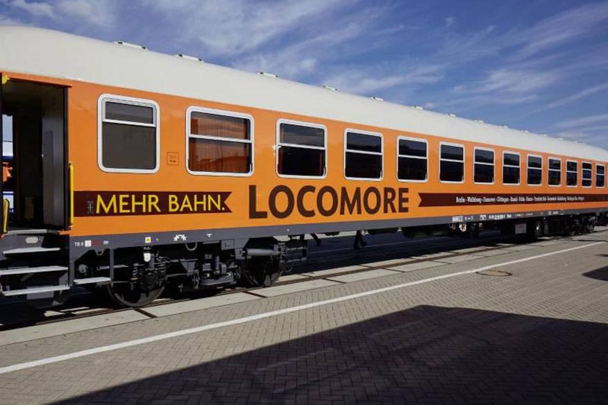 So sehen die Waggons von Locomore aus: Es sind alte IC-Wagen der Deutschen Bahn. Diese wurden für das neue Unternehmen hergerichtet.