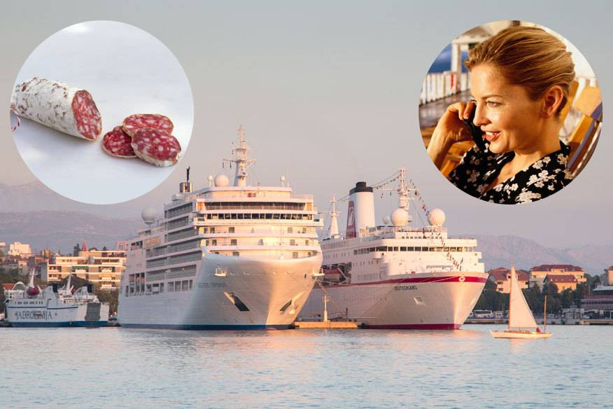 Salami essen und telefonieren – nur zwei der zahlreichen Dinge, die man an Bord von Kreuzfahrtschiffen besser vermeiden sollte