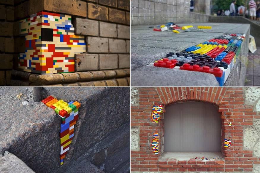 So sieht es aus, wenn Menschen aus aller Welt Jan Vormanns Idee weitertreiben – und Löcher in Mauern und Gehwegen mit bunten Bauklötzen stopfen