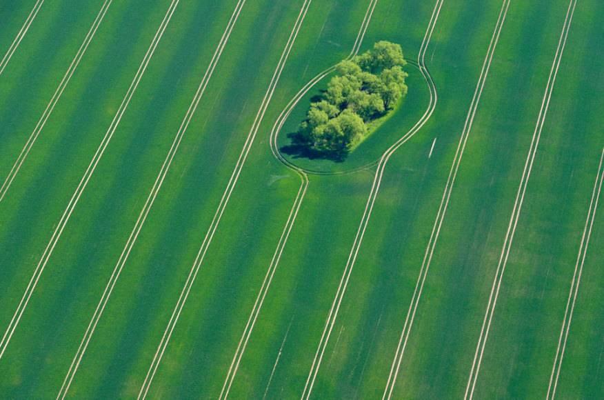 Ein Foto aus dem bayerischen Irschenberg. Hier ist der Trecker um eine Bauminsel gefahren