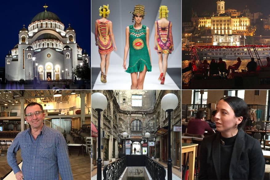 Nicht nur Landmarks wie der Tempel des Heiligen Savas (oben links) prägen Belgrad, es sind vor allem die Menschen und ihre Projekte, wie Ivan Lalic vom Mikser House (unten links) und Aja Jung vom Belgrade Dance Festival (unten rechts)