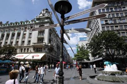 In der Fußgängerpassage in Belgrad