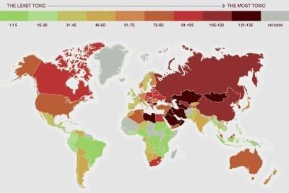 """Die Färbung zeigt, wie """"giftig"""" die Länder sind – je dunkler, desto schlimmer ist die Umweltverschmutzung"""