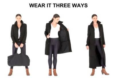 Die Jacke ist modular, lässt sich in drei verschiedenen Varianten tragen