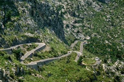 Die Serpentinenstraße, die nach Sa Calobra führt