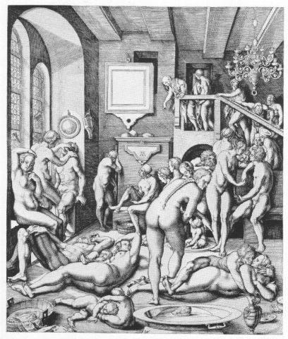 Mittelalter-FKK: Der Kupferstich von Virgil Solis (1514-1562) zeigt Szenen einer Badestube