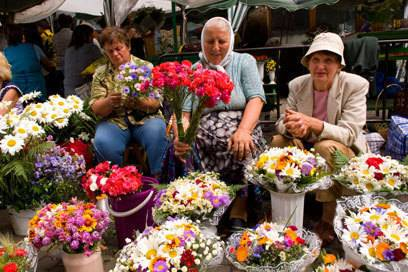 Lemberger sind verrückt nach Blumen. Im Frühling und Sommer sind die kleinen Straßenmärkte voll davon. Vor allem Frauen aus dem Lemberger Umland reisen extra in die Stadt, um ihre Blumen zu verkaufen.