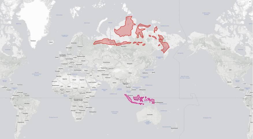 Indonesien wächst plötzlich immens, wenn man es ins Verhältnis zu den auf der Karte geltenden Maßstäben nach Norden verzieht