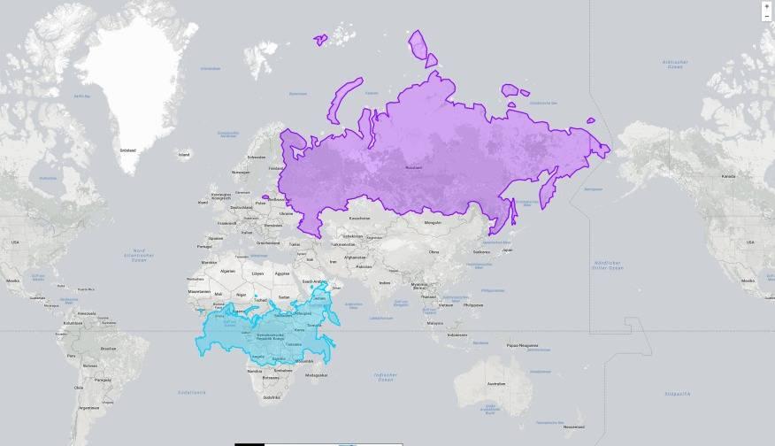 Und Russland? Wird in Höhe des Äquators plötzlich optisch viel kleiner.