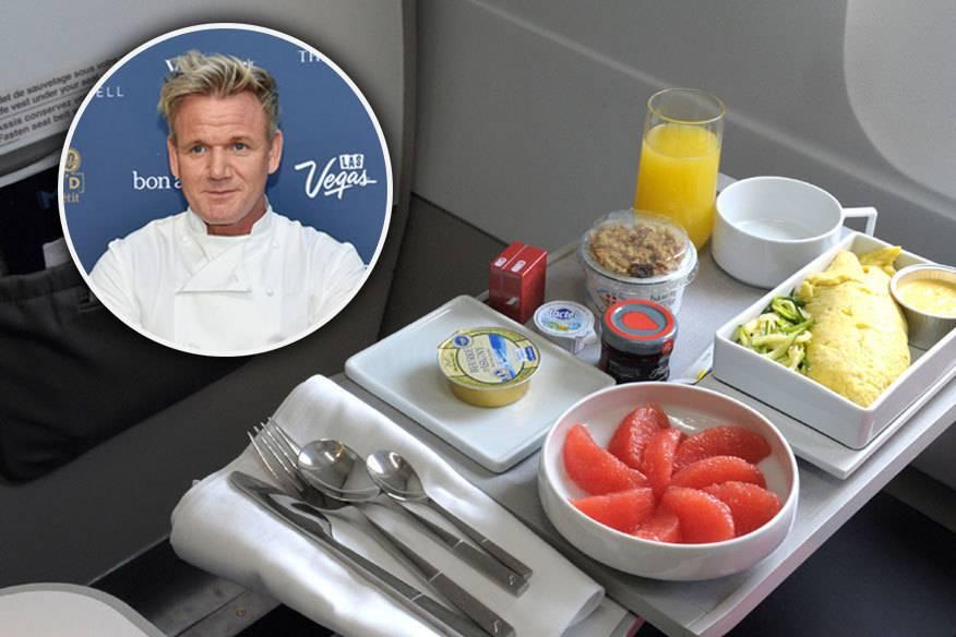 Flugzeugessen ist nicht unbedingt eine Leidenschaft des britischen Starkochs Gordon Ramsay