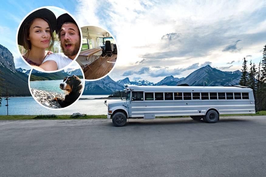 """Im Februar 2016 startete für Felix Starck, Freundin Selima Taibi und Hund Rudi die """"Expedition Happiness"""" – eine Reise, die sie in einem umgebauten Schulbus von Alaska runter in den Süden führte"""