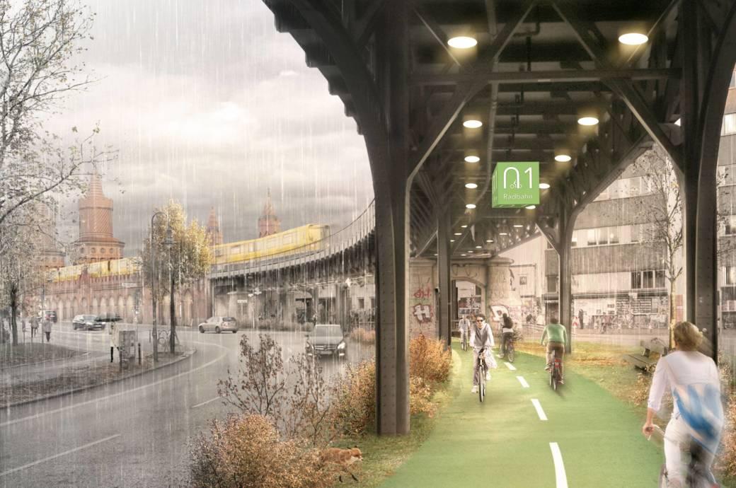 Das Hochbahn-Viadukt, auf dem die U1 durch Berlin fährt, könnte zukünftig als überdachter Radweg genutzt werden