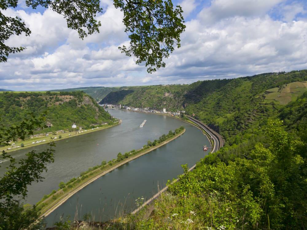Blick von der Loreley über das Rheintal
